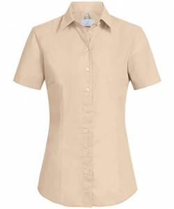 Greiff Damen-Bluse BASIC, Regular Fit, Stretch, easy-care, 6516, beige, Größe 38 von GREIFF
