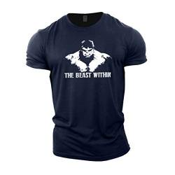 GYMTIER Bodybuilding-T-Shirt der Männer - Beast Within - Fitness-Trainingsoberteil von GYMTIER