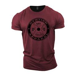 GYMTIER Herren Bodybuilding T-Shirt Barbell – Gym Training Top Gr. 3XL, kastanienbraun von GYMTIER