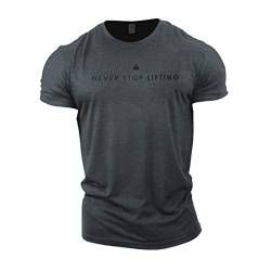 GYMTIER Herren Bodybuilding T-Shirt – Never Stop Lifting – Gym Training Top Gr. M, grau von GYMTIER