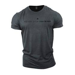GYMTIER Herren Bodybuilding T-Shirt – Never Stop Training – Gym Training Top Gr. L, grau von GYMTIER