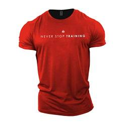 GYMTIER Herren Bodybuilding T-Shirt – Never Stop Training – Gym Training Top Gr. XL, rot von GYMTIER