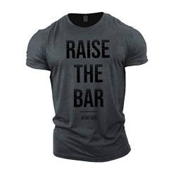 "Gymtier Bodybuilding-T-Shirt für Herren, ""Raise The Bar"", Trainings-Top Gr. M, grau von GYMTIER"