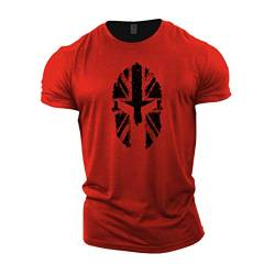 GYMTIER Herren Bodybuilding-T-Shirt – Spartanische UK-Flagge – Gym Training Top Gr. XL, rot von GYMTIER