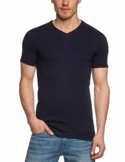 Garage Herren T-Shirt Comfort Fit 302 - T-Shirt V-Neck semi Bodyfit, Gr. 52/54 (L), Blau (Navy 400) von Garage