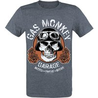 Gas Monkey Garage Skull  T-Shirt  dunkelgrau meliert von Gas Monkey Garage