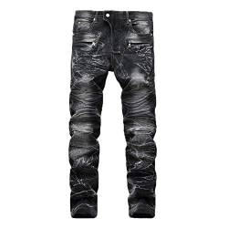 Geili Herren Jeans Hose Lang Vintage Used Look Destroyed Hohl Löchern Jeanshosen Denim Pants Basic Regular Fit Straight Jeans Große Größen Hip Hop Biker Hose Radlerhose Radhose von Geili Herren