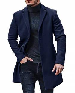 Gemijacka Mantel Herren Winter Wollmantel Slim Fit Lange Jacke Herren Business Blau XL von Gemijacka