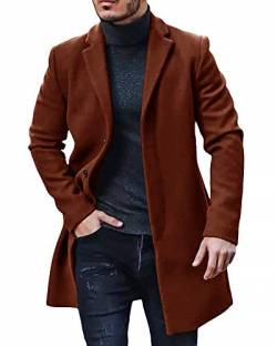 Gemijacka Mantel Herren Winter Wollmantel Slim Fit Lange Jacke Herren Business Braun XL von Gemijacka