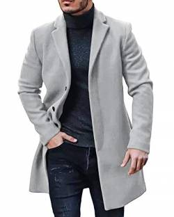 Gemijacka Mantel Herren Winter Wollmantel Slim Fit Lange Jacke Herren Business Grau XXL von Gemijacka