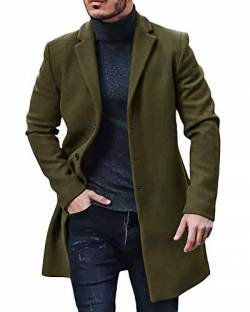 Gemijacka Mantel Herren Winter Wollmantel Slim Fit Lange Jacke Herren Business Grün XL von Gemijacka