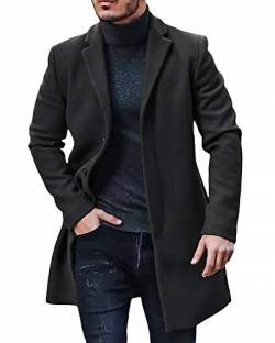 Gemijacka Mantel Herren Winter Wollmantel Slim Fit Lange Jacke Herren Business Schwarz XL von Gemijacka