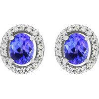 Damen Gemstone Oval Tanzanite & White Zircon Cluster Stud Ohrringe Sterling-Silber OJS0005E-TZAA von Gemstone Jewellery