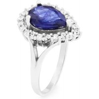 Damen Gemstone Sapphire Pear Cluster Ring Size P Sterling-Silber G0119RB-SA-P von Gemstone Jewellery