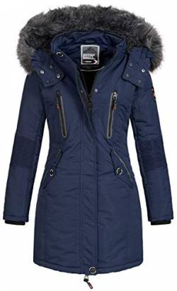 Geographical Norway Damen Jacke Winterparka Coracle/Coraly XL-Fellkapuze Navy XL von Geographical Norway