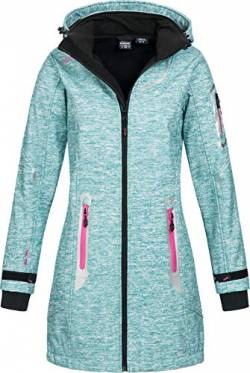 Geographical Norway Damen Softshell Kurzmantel Timael Kapuze meliert Turquoise L von Geographical Norway