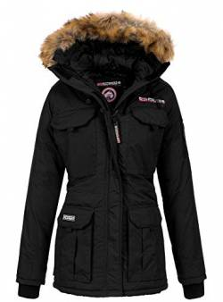Geographical Norway Damen Winterparka Benevolat Jacke mit Fell-Kapuze Black XL von Geographical Norway