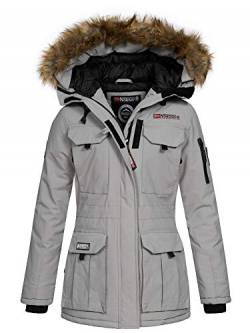 Geographical Norway Damen Winterparka Benevolat Jacke mit Fell-Kapuze Light Grey L von Geographical Norway