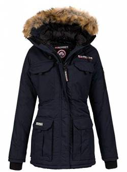 Geographical Norway Damen Winterparka Benevolat Jacke mit Fell-Kapuze Navy XL von Geographical Norway