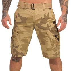 Geographical Norway Herren Cargo Shorts Peanut Bermuda-Hose mit Seitentaschen camo beige L von Geographical Norway