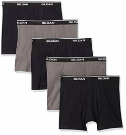 Gildan Platinum Herren 5-Pack Short Leg Boxer Brief Slip, Schwarz/Charcoal, Medium (5er Pack) von Gildan