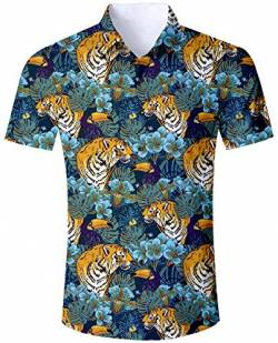 Goodstoworld Hawaiihemde Herren Freizeit Tiger Hemden Slim Fit Hawaiihemd 3D Bunt Kurzarmhemd Männer Hemd Shirt XL von Goodstoworld