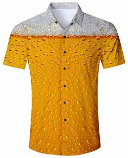 Goodstoworld Kurzärmlige Hemd Herren Oktoberfest Kurzarm Hemden Orange Männer Hawaiihemd Slim Fit Freizeit Outdoor Shirt von Goodstoworld
