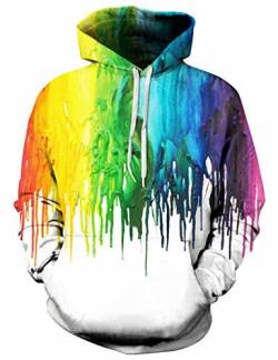 Goodstoworld Paint Splatter Pullover Herren Damen Kapuzenpulli 3D Pferde Hoodie Slim Fit Grafik Kapuzenpulli Sweatshirt Kapuze Fleece Top L von Goodstoworld