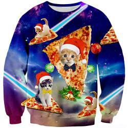 Goodstoworld Weihnachtspullover Pizza Cat 3D Hässlicher Damen Männer Pullover Weihnachten Jumper Ugly Christmas Sweater Cat S von Goodstoworld