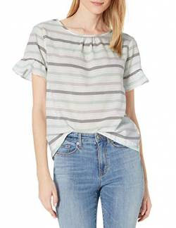 Goodthreads Cotton Dobby Flutter-Sleeve Woven Tee Shirts, White/Mint/Grey Stripe, US L (EU L - XL) von Goodthreads