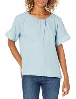 Goodthreads Denim Flutter-Sleeve Woven Tee Shirts, Light wash, US L (EU L - XL) von Goodthreads