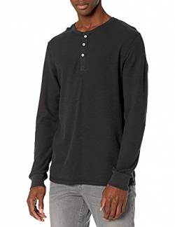 Goodthreads Long-Sleeve Slub Thermal Henleyshirt,Schwarz (black), Small von Goodthreads