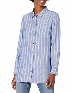 Goodthreads Modal Twill Two-Pocket Relaxed dress-shirts, Blue/White Double Bar Stripe, US S (EU S - M) von Goodthreads