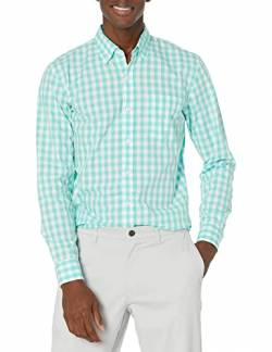 Goodthreads Standard-Fit Long-Sleeve Large-Scale Gingham Shirt Hemd, green/white, von Goodthreads