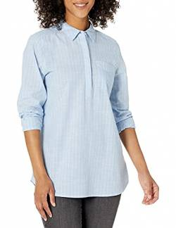 Goodthreads Washed Cotton Popover Tunic button-down-shirts, Light Blue/White Pinstripe,  XS von Goodthreads