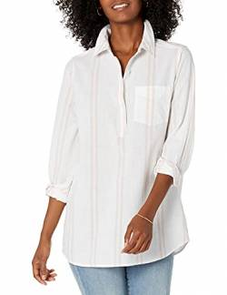 Goodthreads Washed Cotton Popover Tunic button-down-shirts, White/Rose Double Stripe,  S von Goodthreads