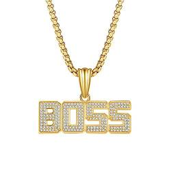 Iced Out Bling BOSS Bubble Anhänger Gold Seil Kette Hip Hop Statement Halskette mit Simulierten Diamanten Herren Damen von Grancey