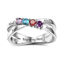 Grand Made Personalisierte Ringe für Mutter 4 simulierte Birthstones Ringe Muttertagsringe Gravur Namensringe für Mama (58 (18.5)) von Grand Made