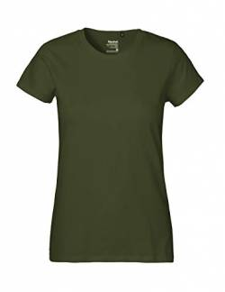 Green Cat- Ladies Classic T-Shirt, 100% Bio-Baumwolle. Fairtrade, Oeko-Tex und Ecolabel Zertifiziert, Textilfarbe: Oliv, Gr.: XL von Green Cat