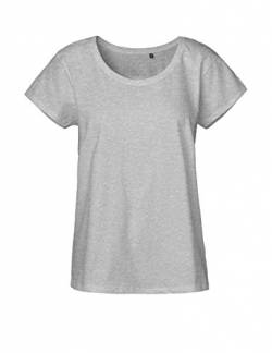 Green Cat Ladies Loose Fit T-Shirt, 100% Bio-Baumwolle. Fairtrade, Oeko-Tex und Ecolabel Zertifiziert, Textilfarbe: grau, Gr.: M von Green Cat