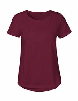 Green Cat Ladies Roll Up Sleeve T-Shirt, 100% Bio-Baumwolle. Fairtrade, Oeko-Tex und Ecolabel Zertifiziert, Textilfarbe: Bordeaux, Gr.: M von Green Cat