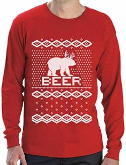 Bear + Deer = Beer - Witziger Weihnachtspulli Langarm T-Shirt Medium Rot von Green Turtle T-Shirts