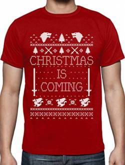 Christmas is Coming - Weihnachts-Shirt Männer für GOT Fans T-Shirt Medium Rot von Green Turtle T-Shirts