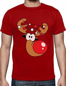 Lustiges Geschenk Rudolph Lichterkette T-Shirt Large Rot von Green Turtle T-Shirts