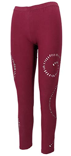 GURU SHOP Psytrance Goa Damen Leggings, Yoga Leggings, Bordeauxrot, Baumwolle, Size:S/M (36), Shorts, Leggings Alternative Bekleidung von GURU SHOP