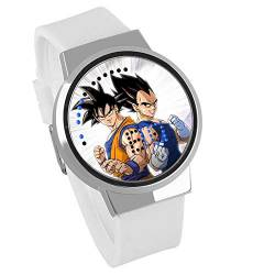 Jungen Digitaluhren,Touch Screen LED Kreative DIY Uhr Dragon Ball Animation Um Super Saiyan wasserdichte Touch Screen Uhr Weiß, E von HAOKTSB