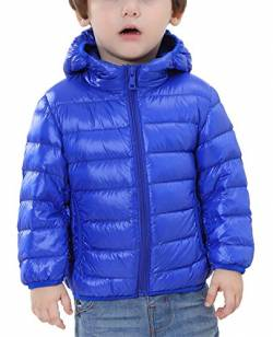 Happy Cherry Kinder Junge Mädchen Ultraleichte Daunenjacke mit Kapuze Unisex Kinder Winterjacke Herbst Winter Jacket Warme Steppjacke tragbar Daunenmantel in Blau Größe 100 cm von Happy Cherry