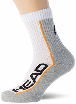 HEAD Unisex-Adult Performance Short Crew (3 Pack) Tennis Socks, White/Grey, 35/38 (3er Pack) von HEAD