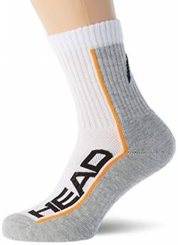 HEAD Unisex-Adult Performance Short Crew (3 Pack) Tennis Socks, White/Grey, 39/42 (3er Pack) von HEAD