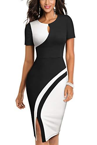 Homeyee Damen Vintage Revers Kontrastfarbe Stretch Bodycon Business Kleid B568